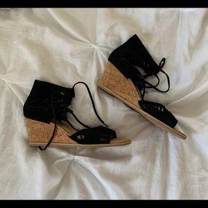 NWOT Lace Up Black Wedge Sandals